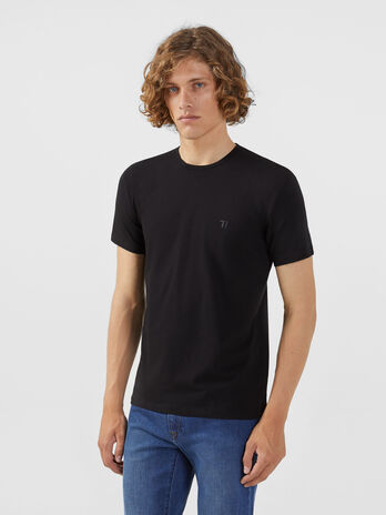 Regular fit jersey T-shirt with embroidery