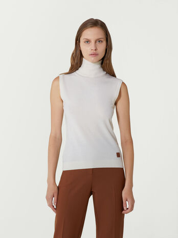 Sleeveless wool blend polo neck top