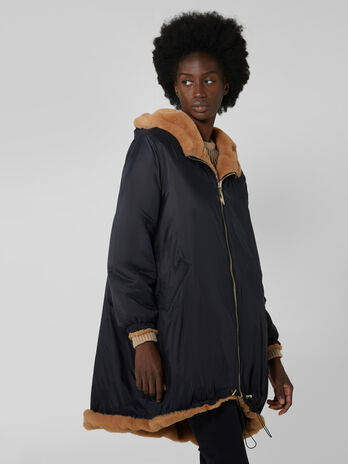 Reversible faux fur parka