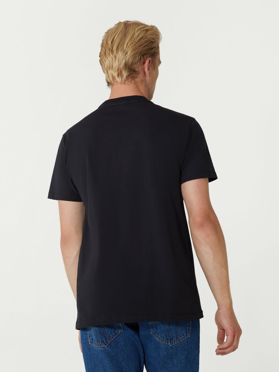 Close fit jersey T-shirt with levriero print