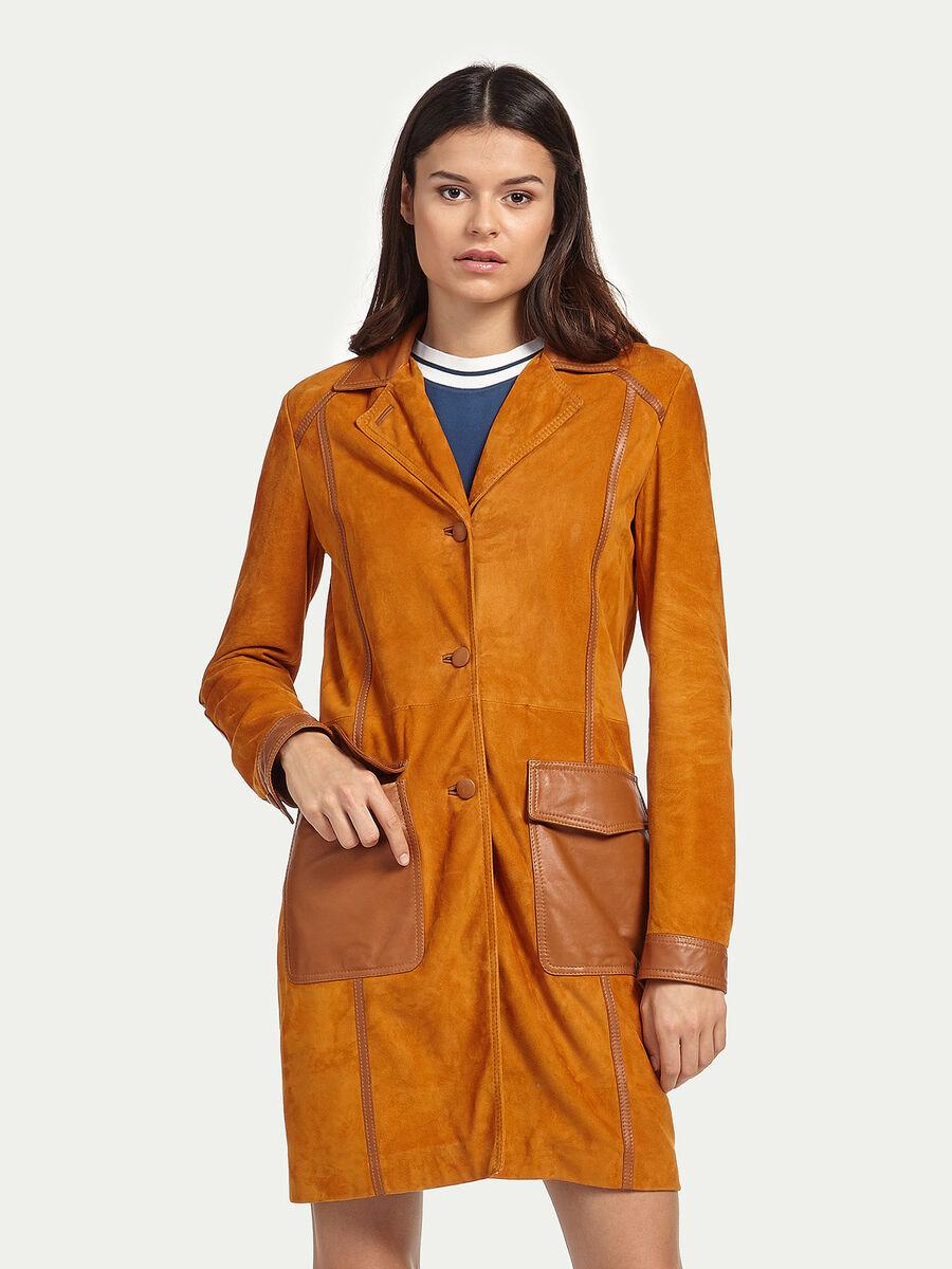 Mantel aus Ziegen Veloursleder
