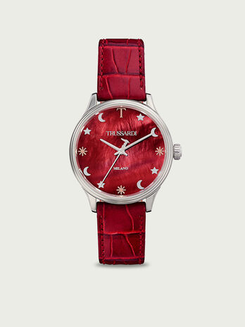 Watch with crocodile effect leather strap