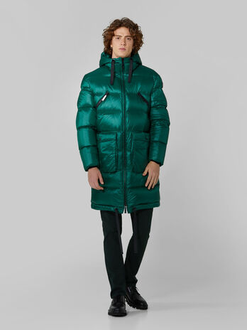 Parka midi con cappuccio in nylon light trapuntato