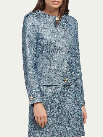 Cotton blend blazer with jacquard detail