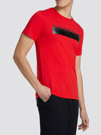 T Shirt im Regular Fit aus Jersey mit Kontraststreifen