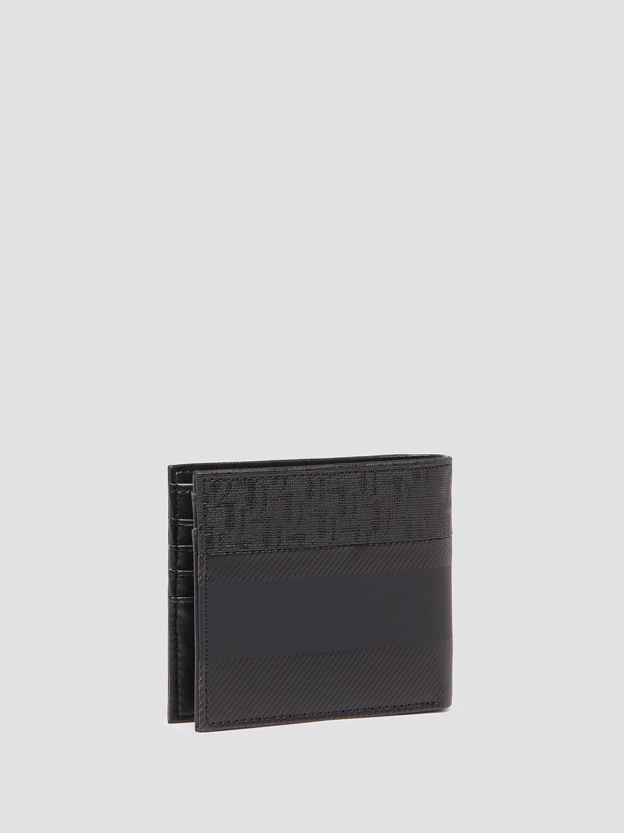 Wallet with carbon fibre effect and coin pocket