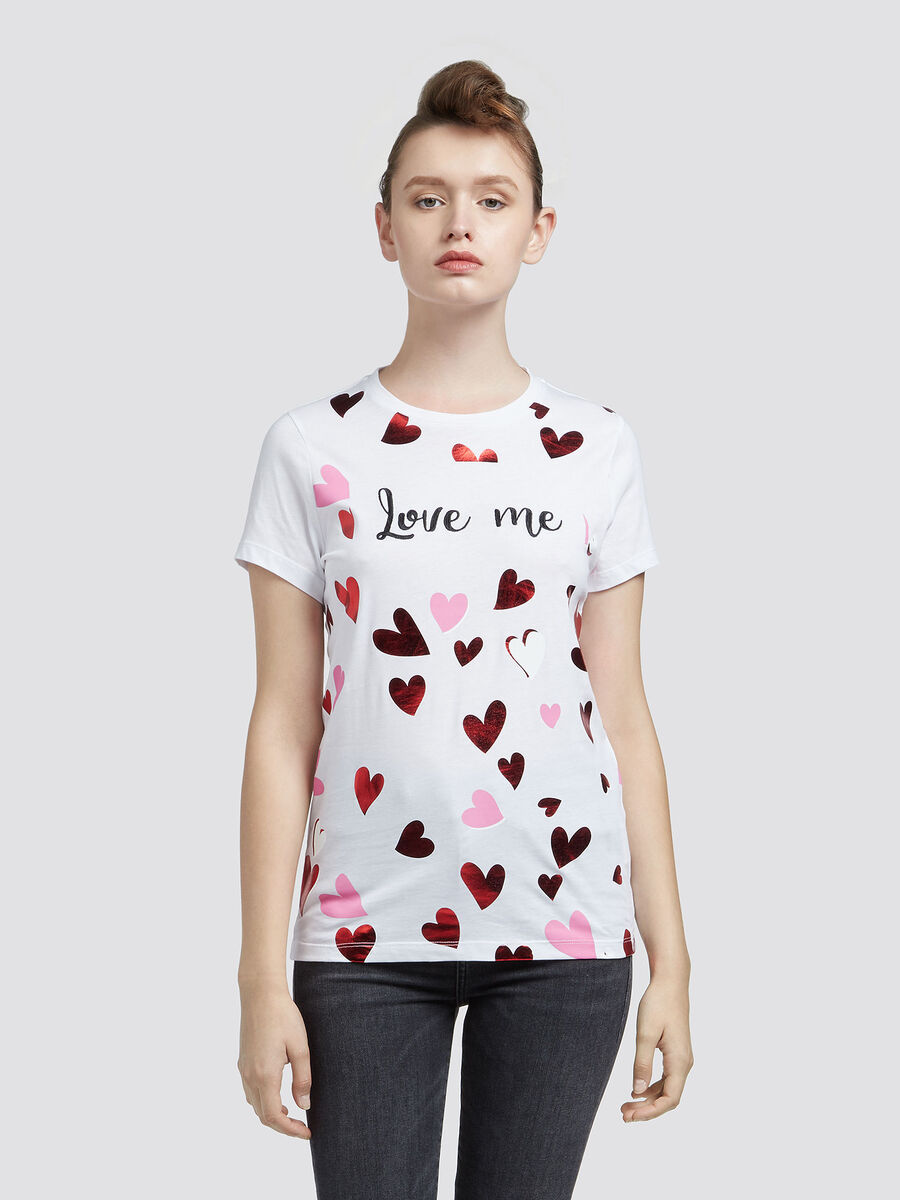 Cotton jersey T-shirt with heart details