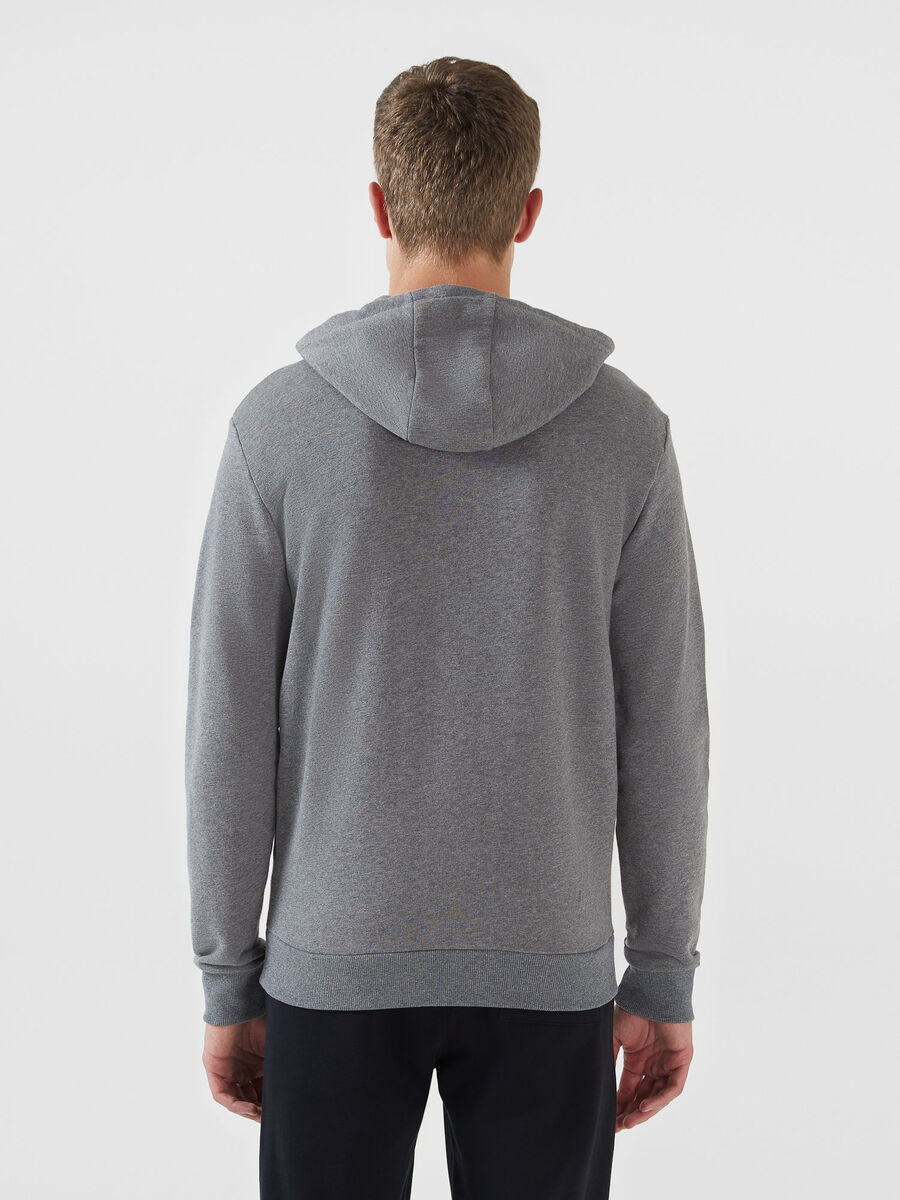 Regular fit hoodie in solid colour cotton