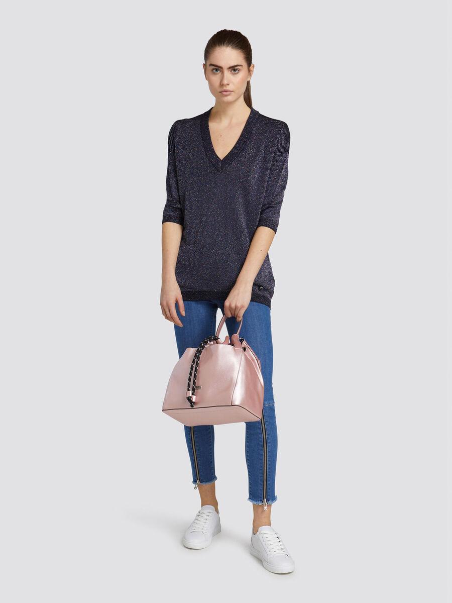 Lurex Baumwolle Pullover im Over Fit mit V Ausschnitt