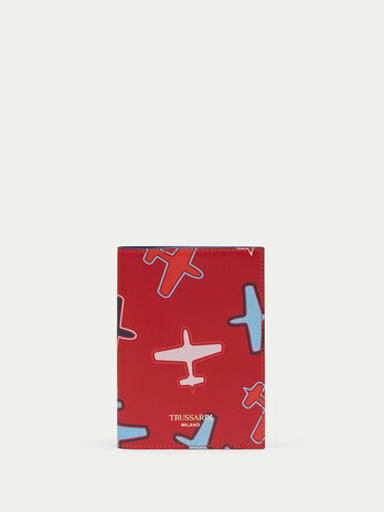 Calfskin passport holder with airplane details