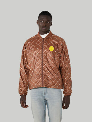 Printed light nylon bomber jacket