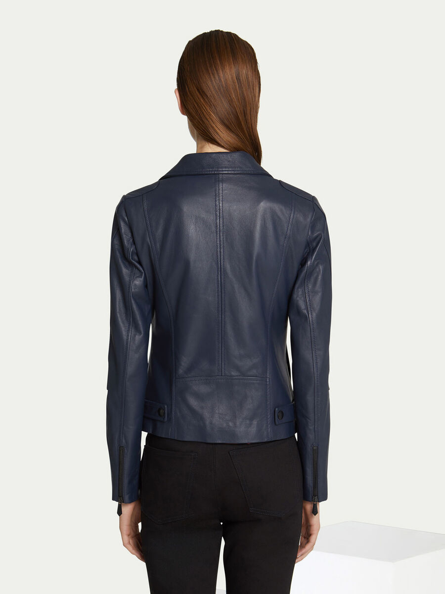 Regular fit leather biker jacket with zip up lapels