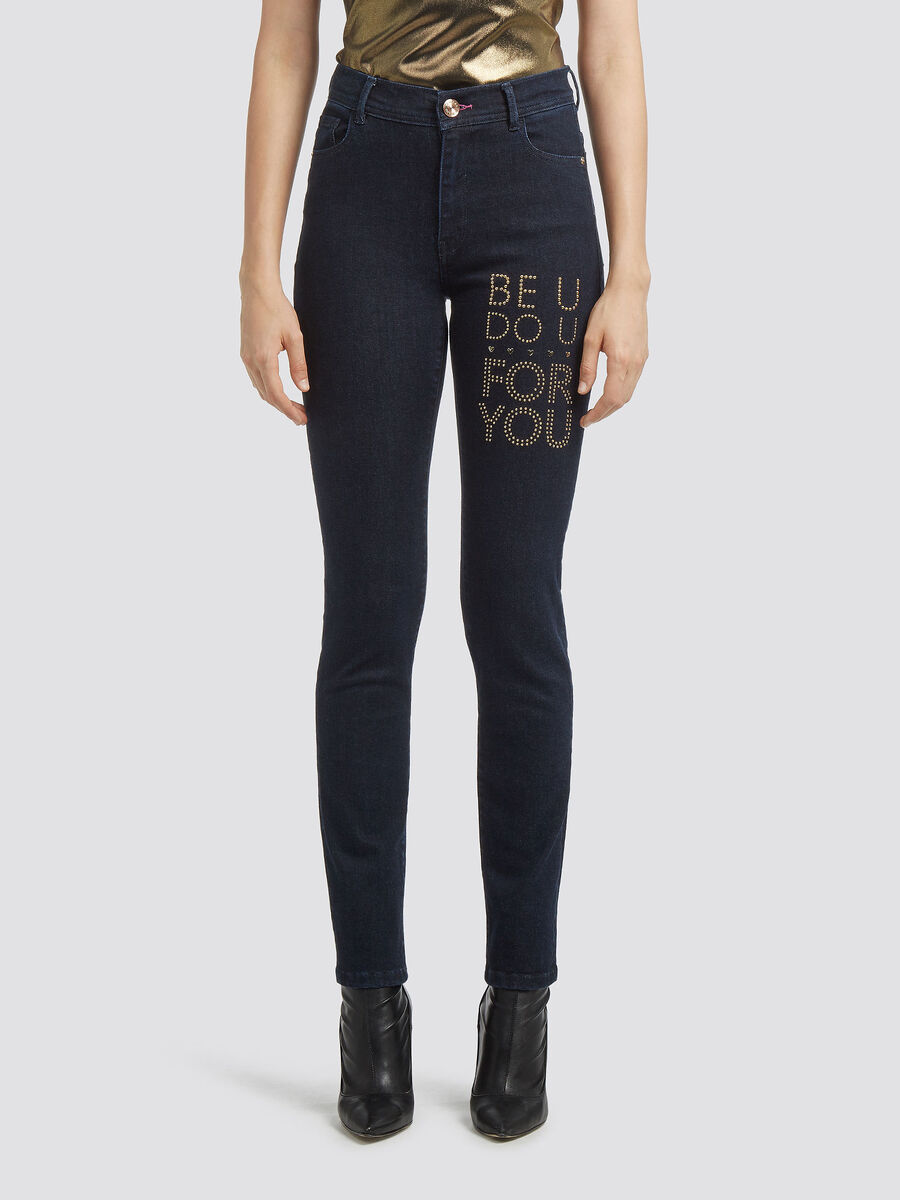 Jean coupe skinny taille haute a strass