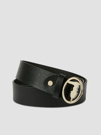 Saffiano leather belt with monogram buckle
