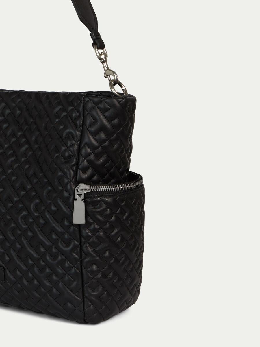 Large biker style hobo bag side zips and shoulder strap
