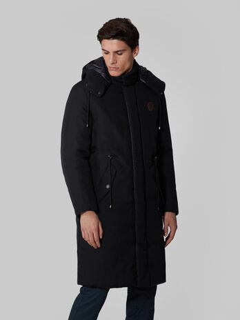 Technical fabric parka with hood