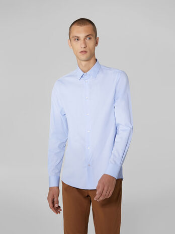 Camicia regular fit in cotone micro jacquard
