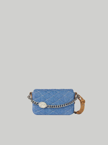 Small Daisy crossbody bag in quilted denim