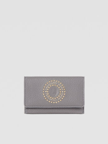 Small Harper card holder in faux leather with studs