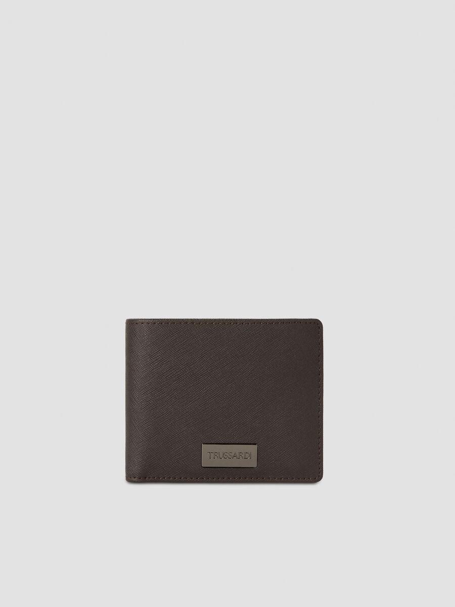 Faux saffiano leather bi fold wallet