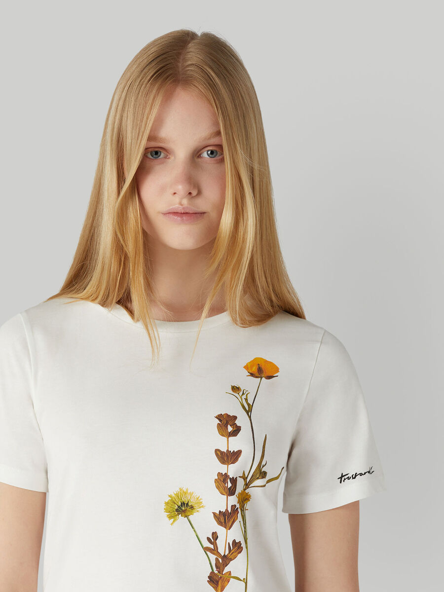Regular-fit cotton T-shirt with floral print