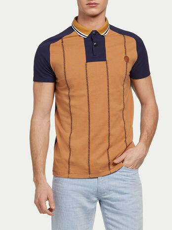 Pique cotton jersey polo with stitching