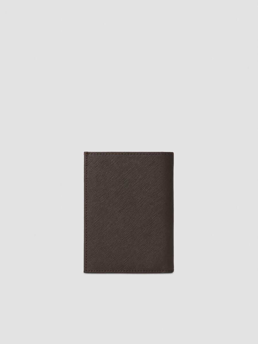 Portafoglio verticale in similpelle saffiano