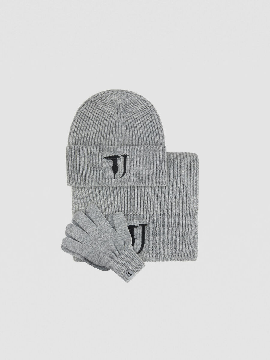 Set aus Wollmix mit Muetze Schal und Handschuhen