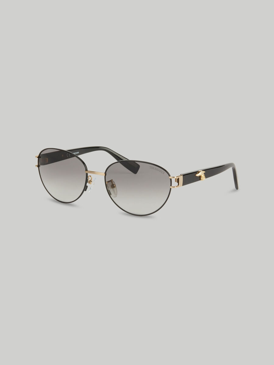 Metal oval sunglasses with logo
