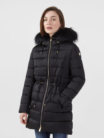 Regular fit nylon satin parka with fur