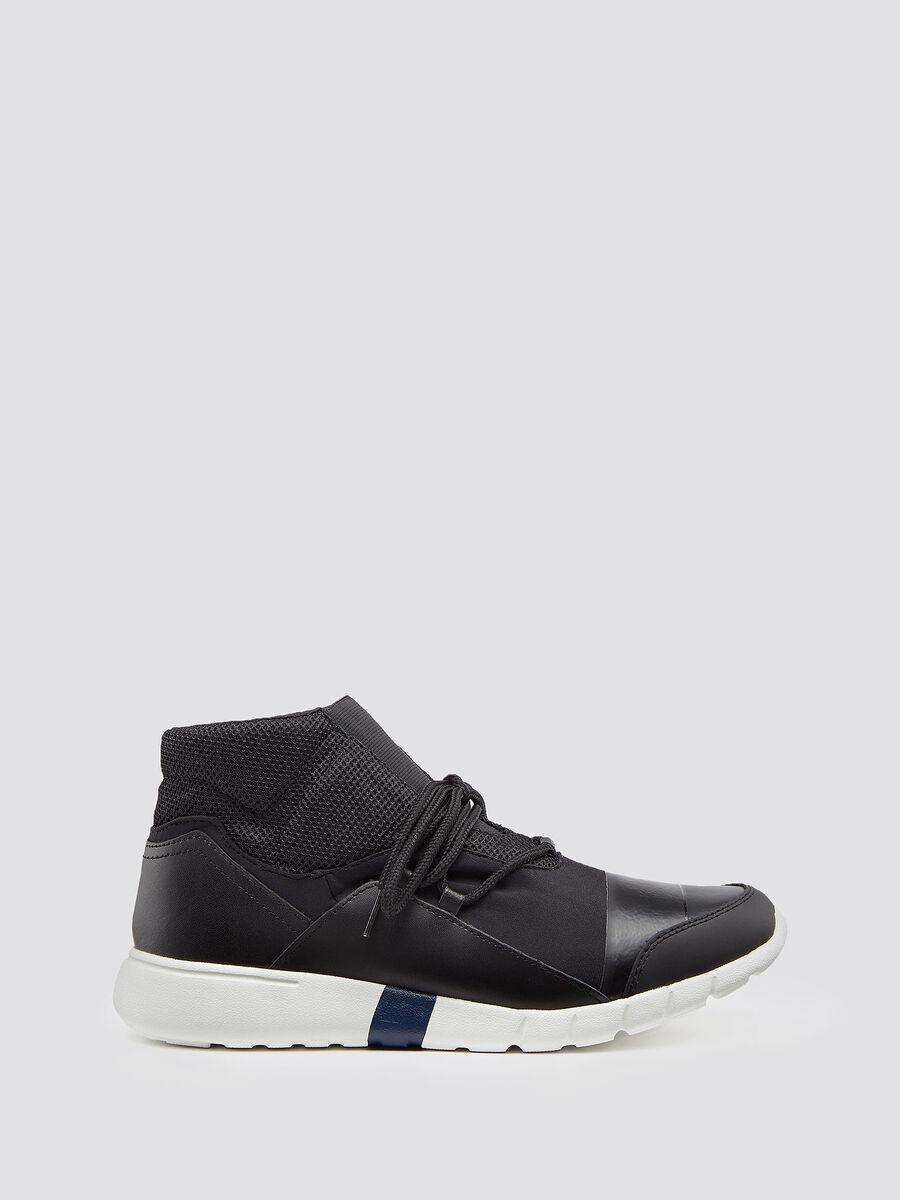 Sneakers running alte in neoprene con lacci