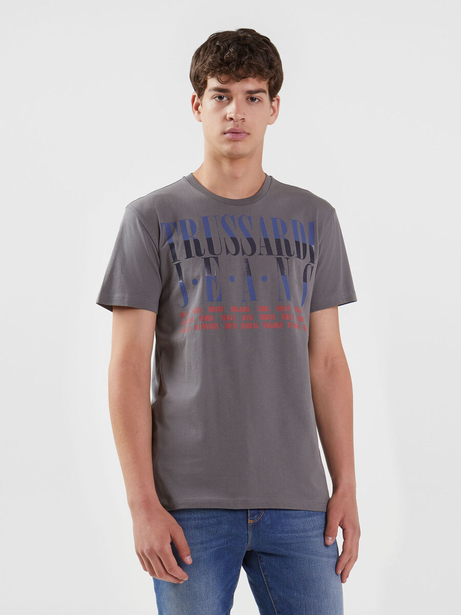 T-shirt regular fit in jersey con lettering multicolor