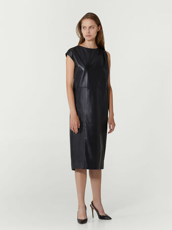 Regular fit leather tunic dress