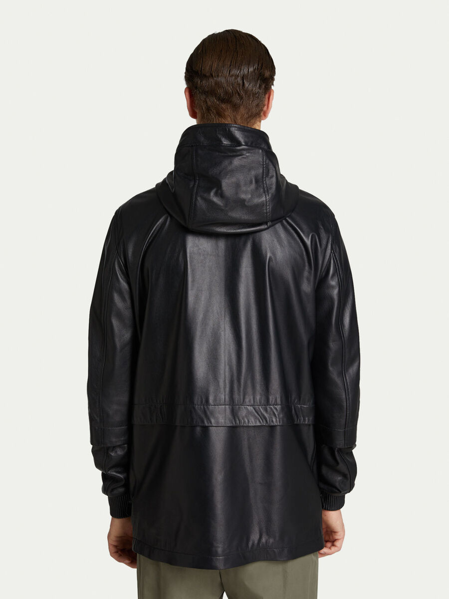 Solid colour leather jacket with hood and zip