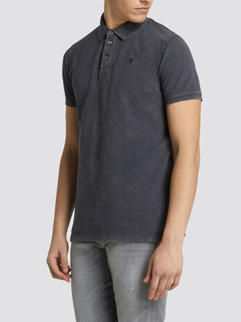 Regular fit polo shirt solid colour pure cotton pique