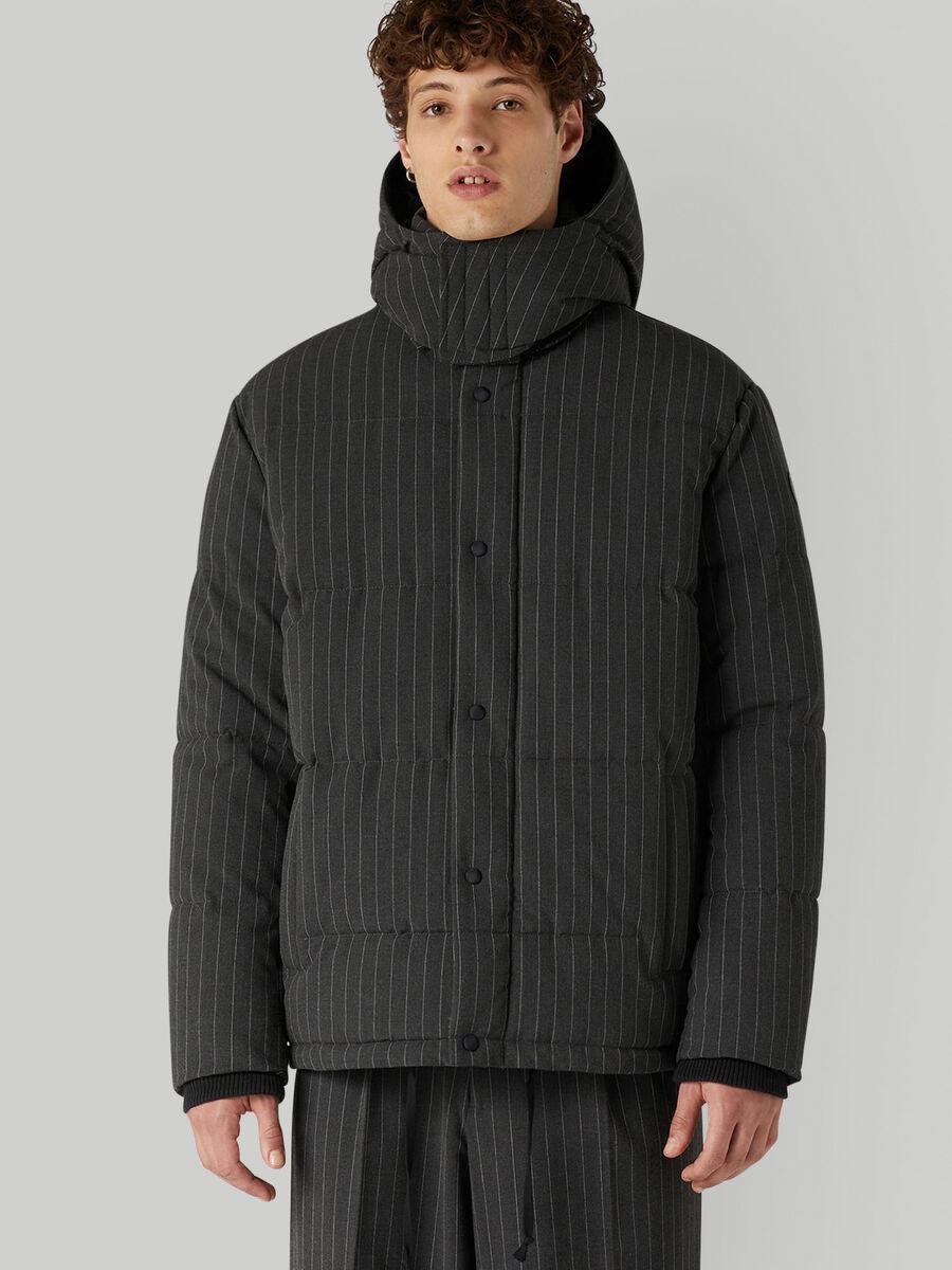 Pinstripe technical fabric down jacket