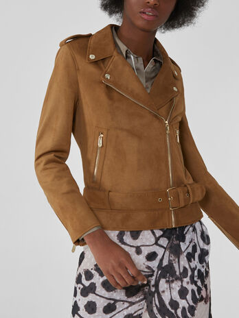Motorcycle jacket in similpelle effetto suede