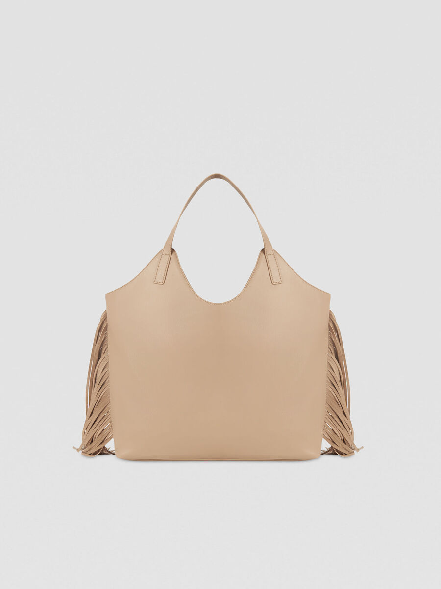 Large Ambra shopping bag in faux leather with fringing