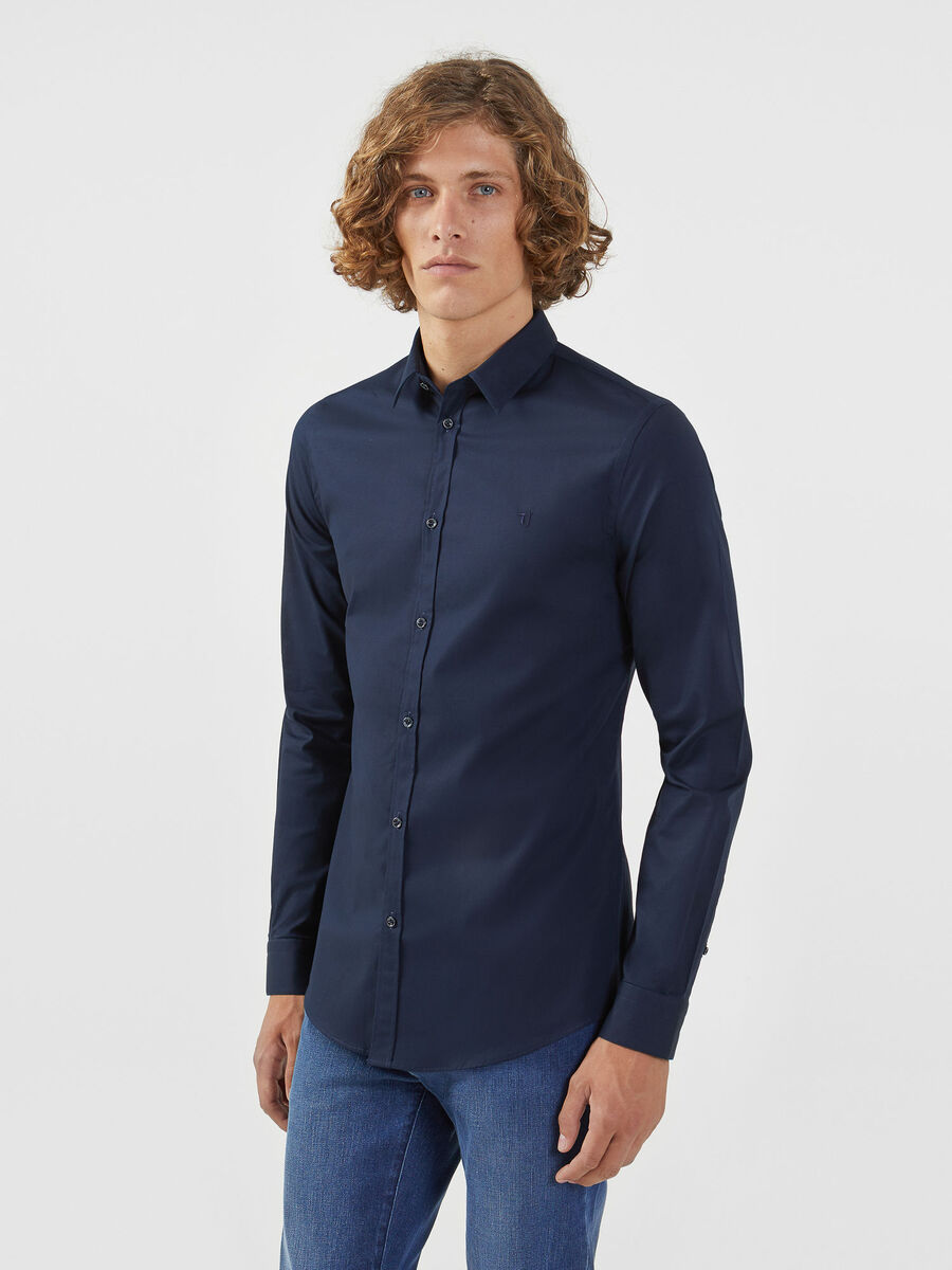 Camicia in popeline di cotone slim fit