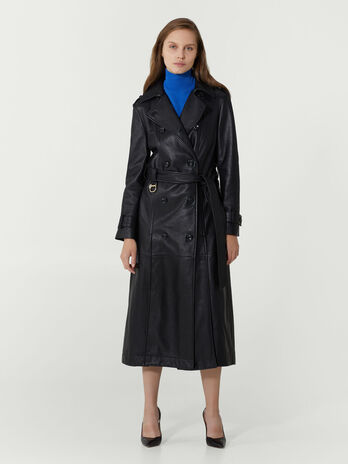 Trenchcoat im Regular Fit aus Leder mit Guertel