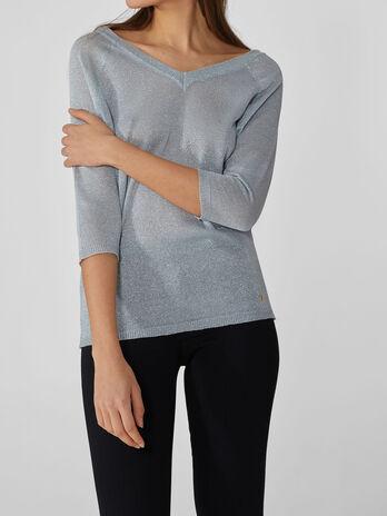 Lurex V-neck jumper