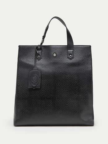 Tresor leather shopping bag with embossed detailing