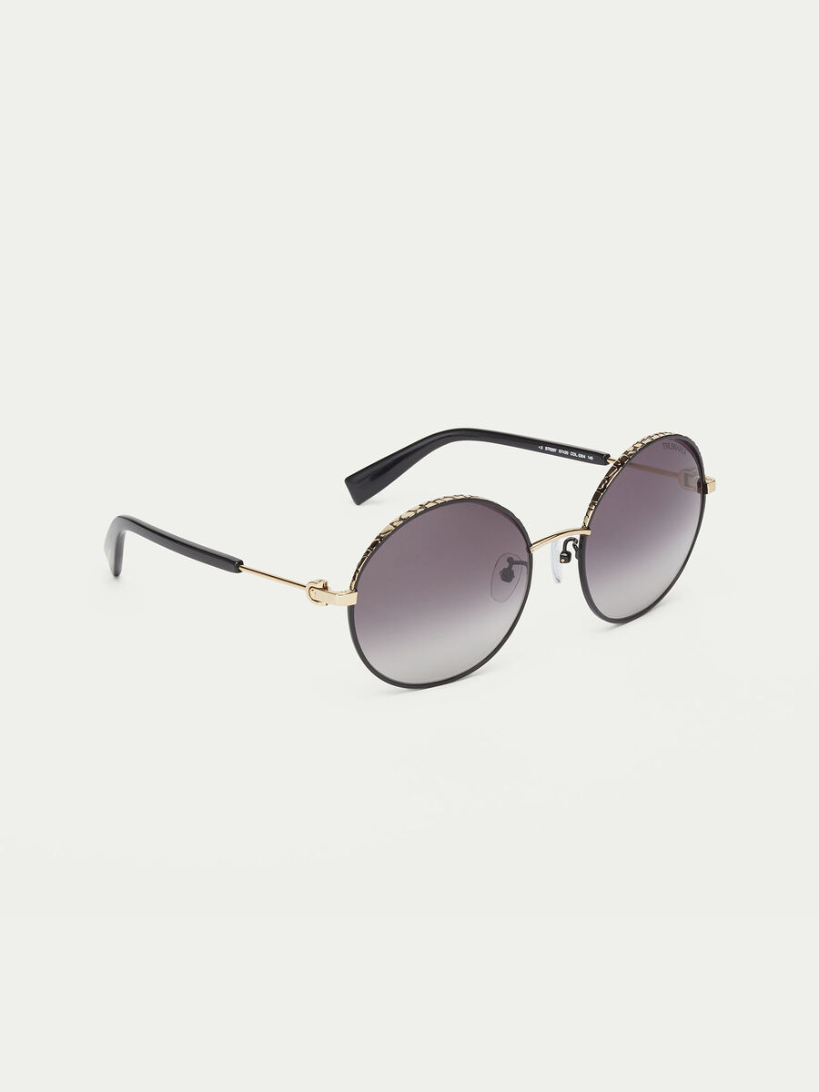 Round sunglasses with spotted effect
