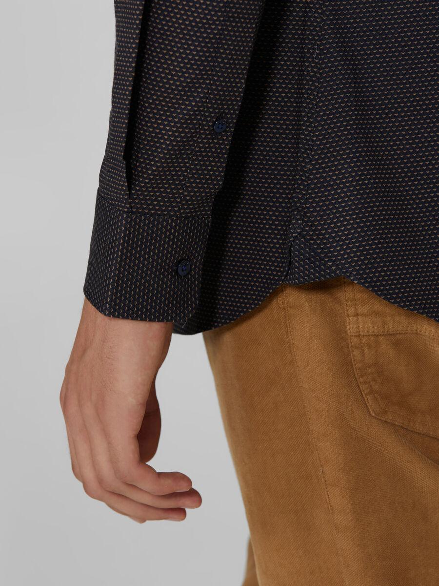 Chemise coupe close en coton a micro motif