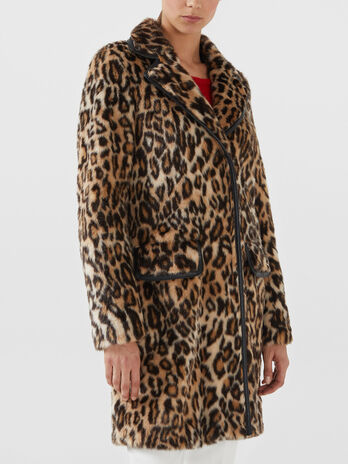 Regular fit animal print faux fur coat