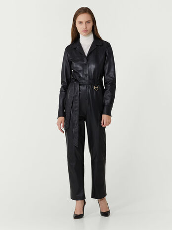 Regular fit belted leather jumpsuit