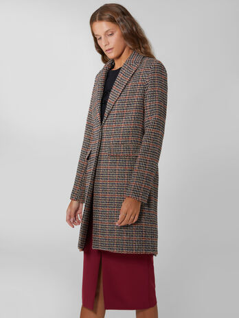 Wool houndstooth overcoat