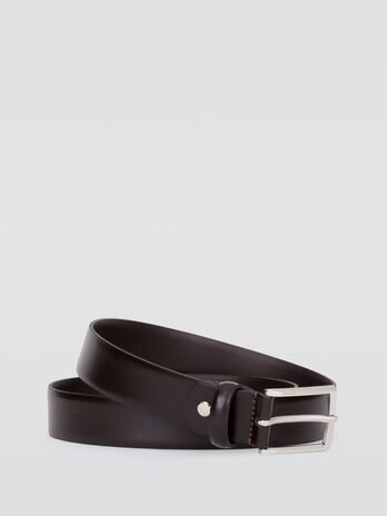 Crespo leather belt with rectangular buckle