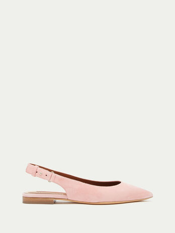 Suede ballet flats with cut out detail