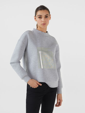Sweat-shirt coupe classique en neoprene bicolore